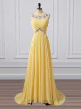 Yellow Chiffon Clasp Handle Scoop Sleeveless Prom Dresses Brush Train Beading and Ruching
