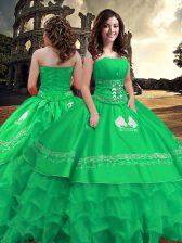 Extravagant Strapless Sleeveless Taffeta Quince Ball Gowns Embroidery and Ruffled Layers Zipper