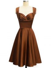 Nice Chocolate Quinceanera Court Dresses Prom and Party and Wedding Party with Ruching Straps Sleeveless Lace Up