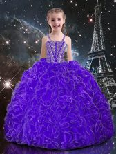 Eggplant Purple Lace Up Child Pageant Dress Beading and Ruffles Sleeveless Floor Length