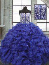 Beautiful Sleeveless Beading and Ruffles Lace Up Quinceanera Dresses