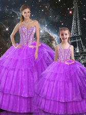 Sweetheart Sleeveless Lace Up Quinceanera Gowns Purple Organza and Tulle