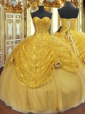 Perfect Gold Ball Gowns Tulle Sweetheart Sleeveless Pick Ups and Hand Made Flower Floor Length Lace Up Quinceanera Gowns
