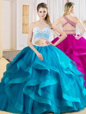 Baby Blue Tulle Criss Cross Sweet 16 Dress Sleeveless Floor Length Beading and Ruffles