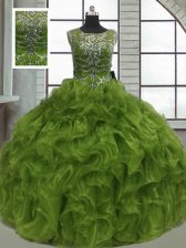 Admirable Ball Gowns 15 Quinceanera Dress Olive Green Scoop Organza Sleeveless Floor Length Lace Up