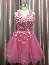 Halter Top Sleeveless Tulle Evening Dress Hand Made Flower Backless