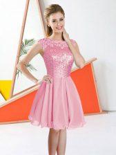 Knee Length Pink Quinceanera Court Dresses Bateau Sleeveless Backless