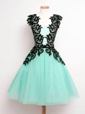 Turquoise Quinceanera Court of Honor Dress Prom and Party and Wedding Party with Lace Straps Sleeveless Lace Up