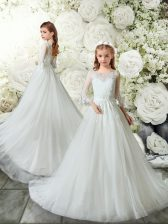 White 3 4 Length Sleeve Brush Train Lace Flower Girl Dresses for Less