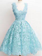 Spectacular Aqua Blue Sleeveless Lace Knee Length Quinceanera Dama Dress