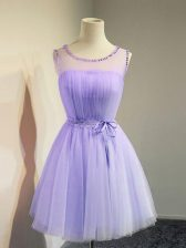 Simple Lavender Tulle Lace Up Scoop Sleeveless Knee Length Court Dresses for Sweet 16 Belt