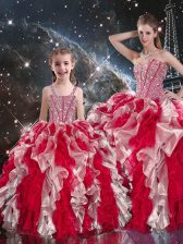 Multi-color 15th Birthday Dress Military Ball and Sweet 16 and Quinceanera with Beading and Ruffles Sweetheart Sleeveless Lace Up