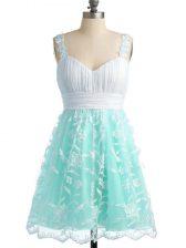 Empire Vestidos de Damas Apple Green Straps Lace Sleeveless Knee Length Lace Up