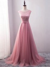 Brush Train Empire Evening Dress Pink Scoop Tulle Sleeveless Lace Up