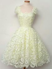 Yellow A-line Lace Straps Cap Sleeves Lace Knee Length Lace Up Dama Dress for Quinceanera