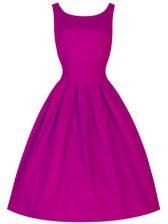 Romantic Fuchsia A-line Scoop Sleeveless Taffeta Knee Length Lace Up Ruching Vestidos de Damas