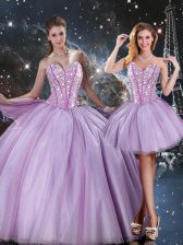 Stunning Tulle Sweetheart Sleeveless Lace Up Beading Sweet 16 Dresses in Lavender