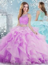 Floor Length Clasp Handle Quinceanera Gown Lilac for Military Ball and Sweet 16 and Quinceanera with Beading and Ruffles