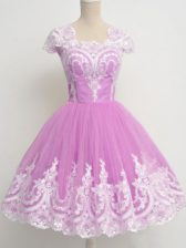 Hot Selling Lilac Zipper Square Lace Quinceanera Dama Dress Tulle Cap Sleeves
