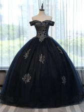 Glittering Floor Length Navy Blue Sweet 16 Quinceanera Dress Off The Shoulder Sleeveless Lace Up