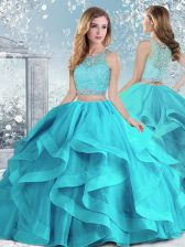 Sumptuous Floor Length Ball Gowns Sleeveless Aqua Blue Sweet 16 Dress Clasp Handle