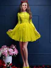 Mini Length Lace Up Quinceanera Dama Dress Yellow for Prom and Party with Beading and Lace and Appliques