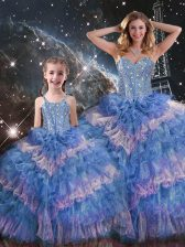 Floor Length Lace Up Sweet 16 Dresses Multi-color for Military Ball and Sweet 16 and Quinceanera with Beading and Ruffled Layers