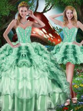 Elegant Multi-color Ball Gowns Beading and Ruffles Quince Ball Gowns Lace Up Organza Sleeveless Floor Length