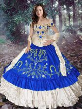 Fitting Royal Blue Off The Shoulder Neckline Embroidery and Ruffled Layers 15 Quinceanera Dress Sleeveless Lace Up