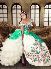 Multi-color Lace Up Off The Shoulder Embroidery and Ruffled Layers Vestidos de Quinceanera Taffeta Sleeveless