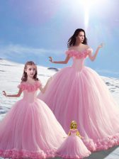 Custom Design Baby Pink Ball Gowns Tulle Off The Shoulder Sleeveless Hand Made Flower Lace Up Quinceanera Gowns Brush Train