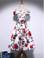 Romantic Sleeveless Knee Length Pattern Lace Up Dress for Prom with Multi-color