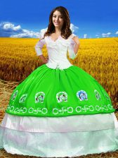 Sweet Green Ball Gowns Taffeta Off The Shoulder 3 4 Length Sleeve Embroidery Floor Length Lace Up Quinceanera Gowns