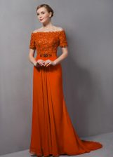Discount Orange Short Sleeves Sweep Train Lace Homecoming Dress