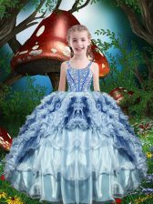 Fantastic Baby Blue Organza Lace Up Pageant Gowns For Girls Sleeveless Floor Length Beading and Ruffles and Ruffled Layers