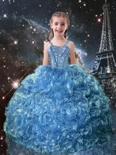 Best Baby Blue Organza Lace Up Girls Pageant Dresses Sleeveless Floor Length Beading and Ruffles