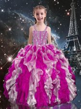 High End Floor Length Lace Up Little Girl Pageant Dress Fuchsia for Quinceanera and Wedding Party with Beading and Ruffles