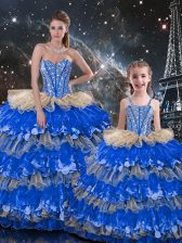 Sweetheart Sleeveless 15th Birthday Dress Floor Length Beading and Ruffles Multi-color Organza