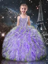 Top Selling Lilac Little Girl Pageant Gowns Quinceanera and Wedding Party with Beading and Ruffles Straps Sleeveless Lace Up