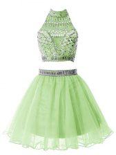 Noble Yellow Green High-neck Zipper Beading Quinceanera Dama Dress Sleeveless