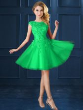 Luxury A-line Quinceanera Court of Honor Dress Green Bateau Tulle Cap Sleeves Knee Length Lace Up