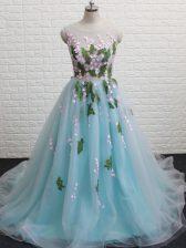 Chic Aqua Blue Sleeveless Brush Train Appliques Dress for Prom
