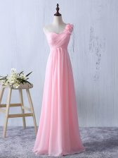 Baby Pink Sleeveless Floor Length Ruffles and Ruching Zipper Dama Dress for Quinceanera