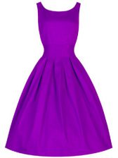 Perfect Knee Length Lace Up Dama Dress for Quinceanera Purple for Prom and Party and Wedding Party with Ruching