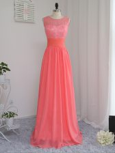 Sleeveless Chiffon Floor Length Zipper Court Dresses for Sweet 16 in Watermelon Red with Lace