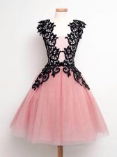 Hot Sale Straps Sleeveless Lace Up Quinceanera Dama Dress Pink Tulle