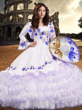 Long Sleeves Floor Length Embroidery and Ruffled Layers Lace Up Sweet 16 Dresses with Royal Blue