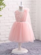 Excellent Knee Length Baby Pink Girls Pageant Dresses Tulle Sleeveless Appliques and Hand Made Flower
