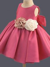 Sleeveless Taffeta Mini Length Clasp Handle Little Girls Pageant Dress Wholesale in Hot Pink with Bowknot and Hand Made Flower