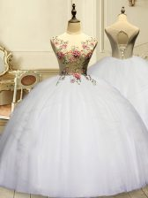 New Arrival White Sleeveless Organza Lace Up 15 Quinceanera Dress for Military Ball and Sweet 16 and Quinceanera